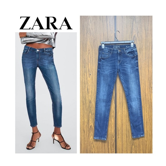 c6e052c555 NWT Zara Blue Low Rise Skinny Jeans Tag Wash Denim NWT